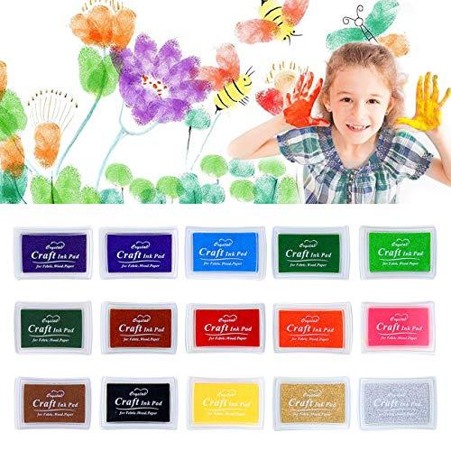 Nomisty Stempelkissen Fingerabdruck Set 15 Farben, Finger Stempelkissen Bunt Stamp Pad für Papier Handwerk Stoff, Fingerabdruck, Scrapbook, Malerei Hochzeit Kinder Geburtstags