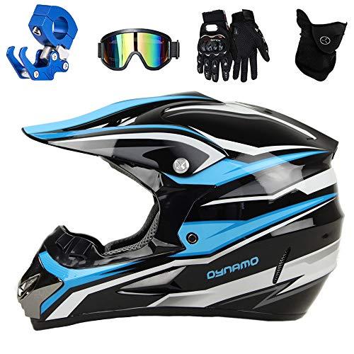 QYTK® Casco Motocross Adulto Azul Blanco Negro, Motocicleta Cross Casco Accesorios con...