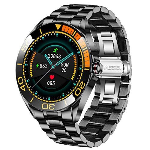 LIGE Smartwatch para Hombre, IP67 Impermeable Rastreador de Ejercicios Frecuencia Cardíaca Oxígeno en Sangre Monitor de Presión Arterial Pantalla Táctil Completa Reloj Inteligente(Naranja Negro)
