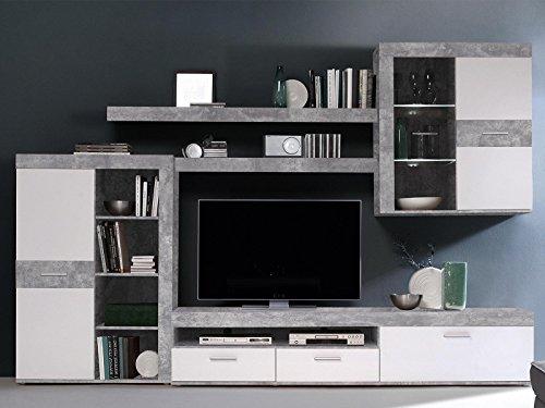 möbelando Wohnwand Mediawand Schrankwand TV-Wand Anbauwand Wohnzimmerwand Aguste I Beton/Weiß