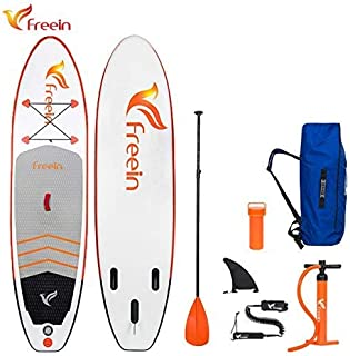 """Freein 10'2'' All Round ISUP Inflatable Stand Up Paddle Board 31"""" Wide 6"""" Thick SUP Complete Package Includes Adjustable Paddle,Travel Backpack,Coil Leash,Dual Action Pump"""