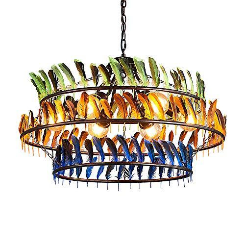 HUUSYGZH Color Pluma Decorada Colgante Luz de Sombra, Pluma Grande con Adornado a la lámpara Colgante, E27 Lámpara para Sala de Estar Dormitorio Comedor