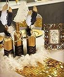 JeVenis 41 PCS Superbe Plongée Noire et Or Plongée Balck Plumes Perle Blanche Colliers de Perles pour La Décoration De Gâteau De Mariage des Années 1920 Gatsby Thème Décorations De Table