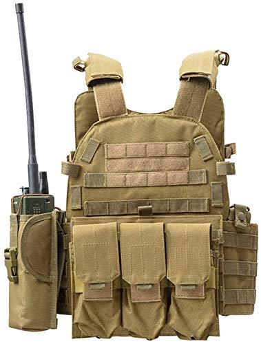 DMAIP Hunting Molle Tactical Vest Combat Security Training Tool Pouch Modoular Protective Durable Waistcoat for Outdoor Paintball CS Game Airsoft Climbing Hiking (Tan)