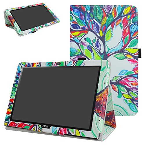 Mama Mouth Acer Iconia One 10 B3-A40 Case, PU Leather Folio 2-folding Stand Cover with Stylus Holder for 10.1' Acer Iconia One 10 B3-A40 Android Tablet PC,Love Tree