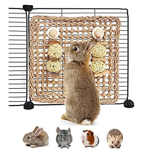 YUNXANIW Hamster Spielzeug, Kaninchen Zubehoer, Kleintierspielzeug zum Knabbern und um Langeweile zu vertreiben,Nager Zubehör für den Käfig Kleiner Haustiere, Seegrasmatte mit Kauspielzeug