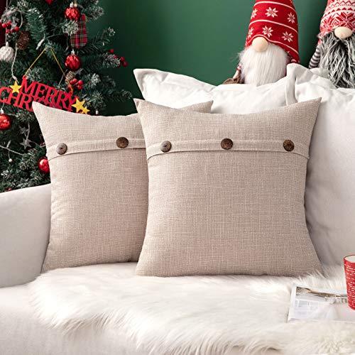 MIULEE Natale Confezione da 2 Federe per Cuscini Copricuscini in Lino Incrociato Fodere Decorativi Bottoni per Casa Divano Auto 50X50cm Bianco Crema