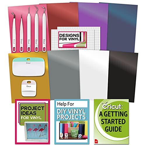 Cricut Essential Tools & Vinyl Bundle - Scraper, Weeder, Beginner Guide, Design