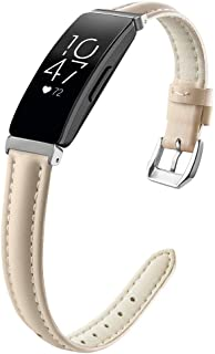 OenFoto Bands Compatible Fitbit Inspire & Inspire HR, Adjustable Leather Replacement Accessories Wristband Strap for Fitbit Inspire & Inspire HR Smartwatch, Women Men, Large Small