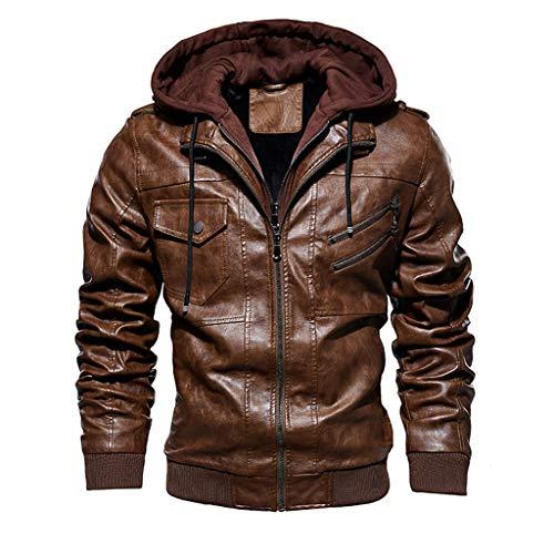 Landscap Men's Leather Motorcycle Jacket Hoodie Zipper Fashion Vintage Casual Outdoor Windbreaker Jacket Coat (Brown A, XXL)