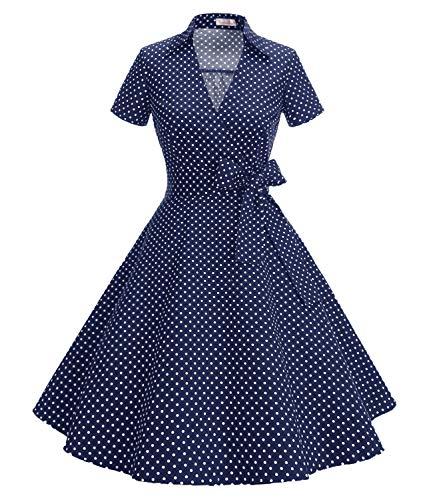 Gonna Vintage Anni 50 60 Audrey Hepburn Vestiti da Cocktail da Donna Elegante di Cotone Manica Corta Small Navy White S