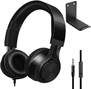Over Ear Headphones with AluminumHeadphone Stand Hanger, SourceTon 3.5mm Gaming Headset Noise Isolating with Mic and Volu...