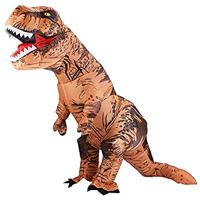 Lulu Home Halloween Dinosaur Costume, 7ft Tall T-Rex Inflatable Costume for Adult, Brown by Lulu Home