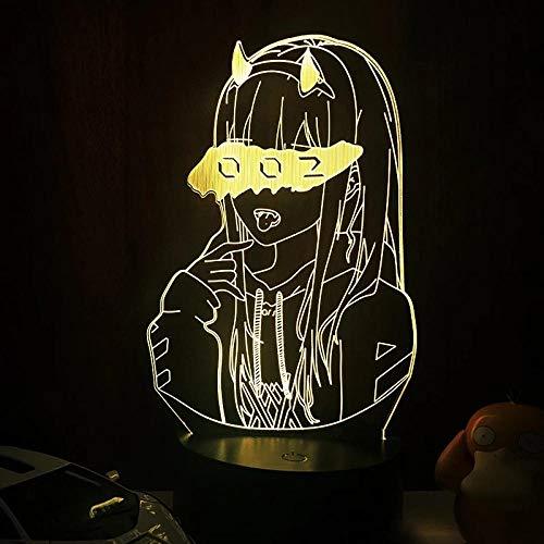 Luz De Ilusión 3D Luz De Noche Led Darling In The Franxx Zero Two 002 Para Regalo De Navidad Y Decoración De Dormitorio Anime Cumpleaños Para Niños Regalos