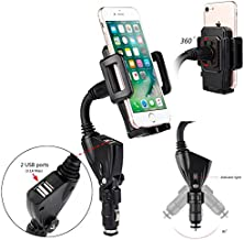 TENETECH Universal Car Mount Holder Dual USB Port Cigarette Lighter Socket Car Charger Mount Holder for Cell Phone Smartphones