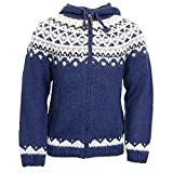 ICEWEAR Skjöldur 100% Icelandic Wool Hand Knitted Jumper with Zipper and Hood