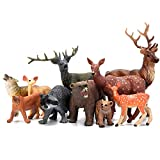 Woodland Animals Figurines Toys, 10 Piece Realistic Plastic Wild Forest Animals Figures with Elk, Wolf, Brown Bear, Raccoon, Lynx, Deer Figurines Playset Cake Toppers for Kids Children Toddlers
