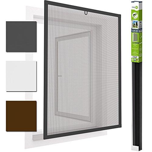 Insektenschutzfenster Alu Fliegengitter 130 x 150 cm easyLINE Grau