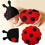 Neugeborenes Baby Foto Kostüm Baby-Foto-Baby-Kleidung Hundert Tage Baby-Fotografie Handgestrickte Käfer für Junge Mädchen (Farbe : Red, Size : One Size)