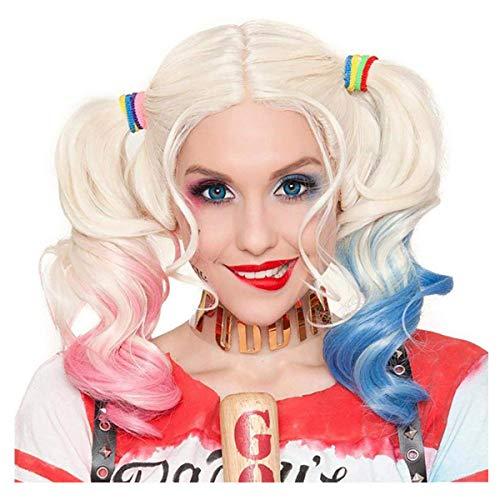 Cisne 2013, S.L. Peluca para Mujer de Harley Quinn Color Rubio con Colores Azul y Rojo para Halloween o Carnaval. Peluca Disfraz Cosplay Harley Quinn Suicide Squad