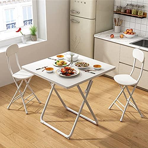 Mesa plegable Mesa plegable Mesa de comedor Hogar simple Mesa de comer Pastel Portátil Al Aire Libre Mesa Plegable y Silla Pequeño Apartamento Mesa cuadrada ( Color : White , Size : 73x60x60cm )