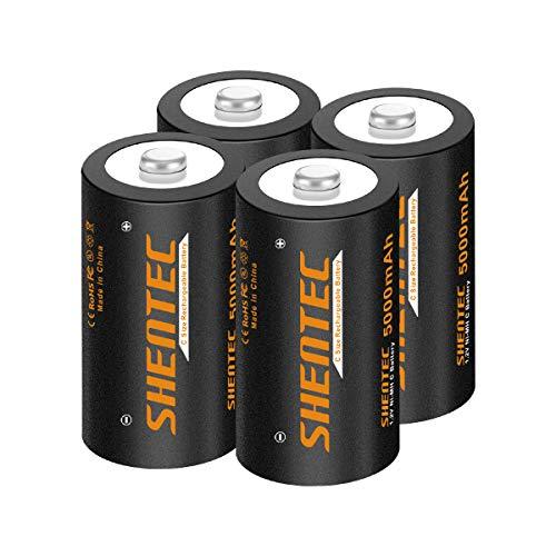 4 pezzi Batterie Ricaricabili C Shentec 1.2V 5000mAh Pile C Ricaricabili (Batteria Tipo C) 1200 cicli Mezzatorcia C HR14 Baby con Auto-Scarica Bassa