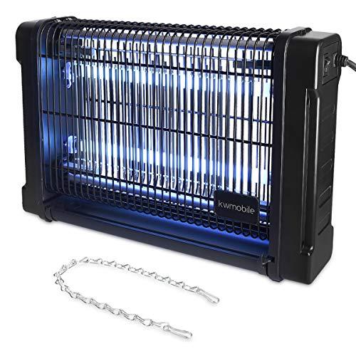 kwmobile UV Insektenvernichter 20 Watt - 80m² Wirkungsbereich inkl. Aufhängekette - Fliegenfalle elektrisch mit Stromkabel - Mücken Insektenlampe