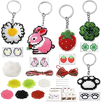 Pllieay 5 Packs Bead Embroidery Kit Beaded Counted Cross Stitch Kids Craft Starter Kit Gift Cute & Usable DIY Crafts Keychain Ornaments Needlepoint Crafts Pattern