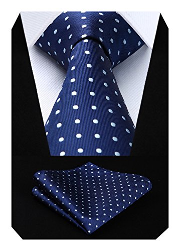 HISDERN Dot Floral Wedding Tie Panuelo para hombres Corbata y bolsillo cuadrado azul marino