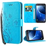 Samsung Galaxy J7 2016 hülle,Solide Butterfly PU Ledercase Tasche Schutzhülle Galaxy J7 2016 flipcase Magnetverschluss Handyhülle im Wallet Bookstyle - Blau