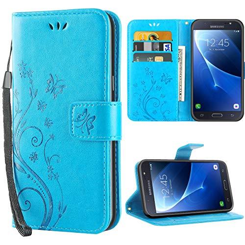 iDoer Hülle Kompatibel Mit Samsung Galaxy J7 (2016) Schmetterling Leder Case Schutzhülle Blau