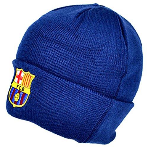 FCB FC Barcelona - Gorro Beanie Oficial de Invierno de Punto Modelo Crest Hombre Caballero (Talla Única) (Azul Marino)