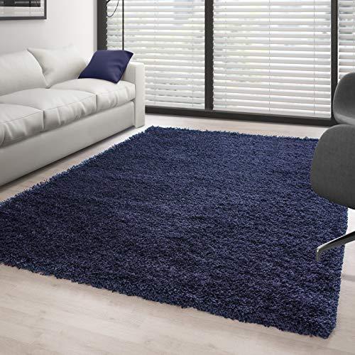 Alfombra de pelo largo para salón, altura de 3 cm, color azul marino – 80 x 150 cm