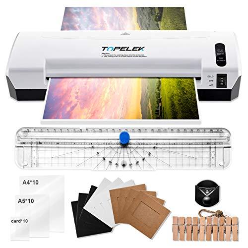 TOPELEK Plastificadora A4, Máquina de Plastificar 5 en 1, 400mm/min, 30 Plásticos A4/A5/A7, cortador de papel, redondeador de esquina, 10 Marcos de fotos, 2 min de precalentamiento, casa y oficina