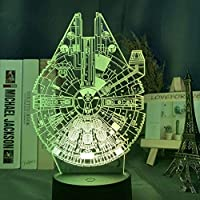 3D Ledナイトライトスターウォーズ宇宙船ミレニアムファルコンモデルナイトライトキッズルームデコレーションデスクナイトランプドロップシップ-リモコン付き16色