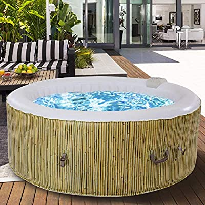 GYMAX Outdoor Spa, 6 Person Portable Inflatable Hot Tub with Accessories Set for Relaxation Hydrotherapy