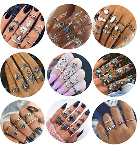 LOYALLOOK 84Pcs Midi Ring Bohemian Knuckle Ring Sets Fashion Finger Vintage Silver Stackable Rings for Women Knuckle Midi Rings