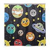 funnyy Witziger Duschvorhang Sonne Stern Erde Planet Emoji Wasserdichte Polyester Stoff Bad Duschvorhang mit Haken für Zuhause Badezimmer Dekor, 182,9 x 182,9 cm