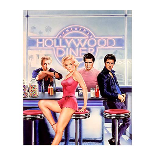 """'Hollywood Diner'- 8 x 10'- Poster Wall Art Print- """"Marilyn Elvis, James & Warren""""-Movie Stars. Retro Wall Decor-Ready to Frame. Home-Office-Bar-Cave Décor. Perfect Gift for Music & Hollywood Fans."""