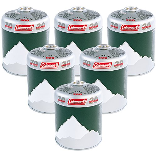 Coleman C500 Gaskartuschen 6er Pack, 6 x Ventilkartuschen mit Schraubventil, Gaskartuschen für Campingocher, Campinggrill oder Lampen, leistungsstarkes Butan/Propan Gemisch
