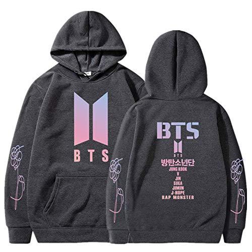 BTS T Shirts for Women Womens Korea Pop Starry Sweatshirt Casual Sweatshirt Men Girl Hoodies L Dark Gray