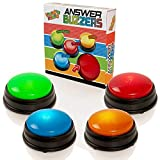 Learning Minds Lights & Sounds Answer Buzzers - Paquete de 4 - para Juegos de Preguntas