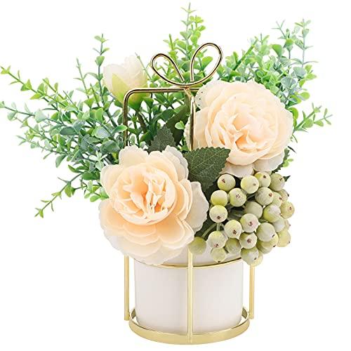 Florero y flores artificiales,22cm Florero colgante de metal dorado Ramos de flores...