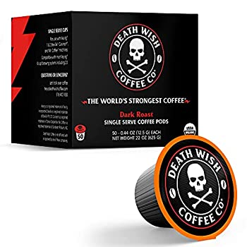 DEATH WISH Death Cups [50 Count] Single Serve Coffee Pods World's Strongest Coffee Dark Roast Capsule Cup USDA Certified Organic Fair Trade Arabica and Robusta Beans