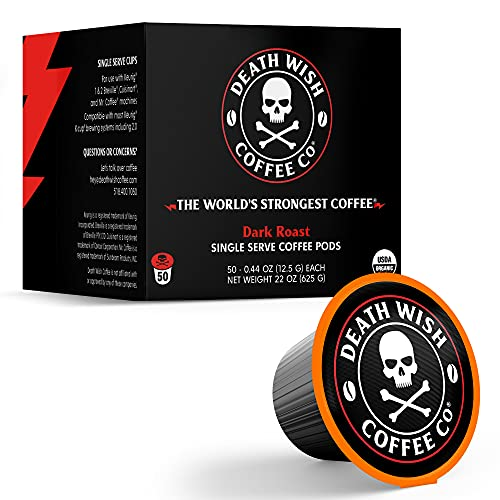 DEATH WISH Death Cups [50 Count] Single Serve Coffee Pods, World's Strongest Coffee, Dark Roast, Capsule Cup, USDA Certified Organic, Fair Trade, Arabica and Robusta Beans