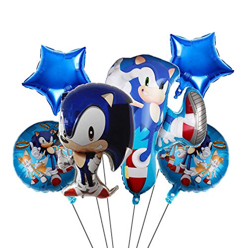 6 pcs Sonic Balloons,Sonic the Hedgehog Birthday Party Supplies,Kids Birthday Party Favor Decorations Perfect for Your Themed Party