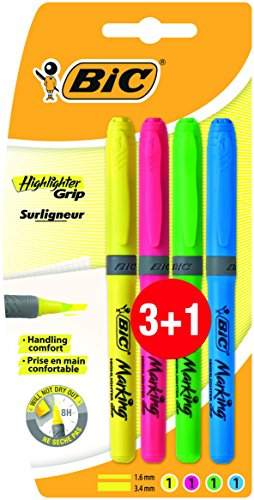 BIC Highlighter Grip Marcadores punta biselada Ajustable - colores Surtidos, Blíster de 3+1
