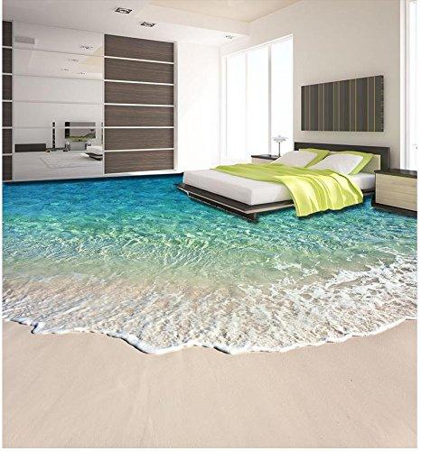 LHDLily 3D Wallpaper Mural Strand Schöne Küstenlandschaft 3D Boden Wasserdicht Boden Mural Malerei 3D Bodenbelag Badezimmer Dekoration 300Cmx200Cm