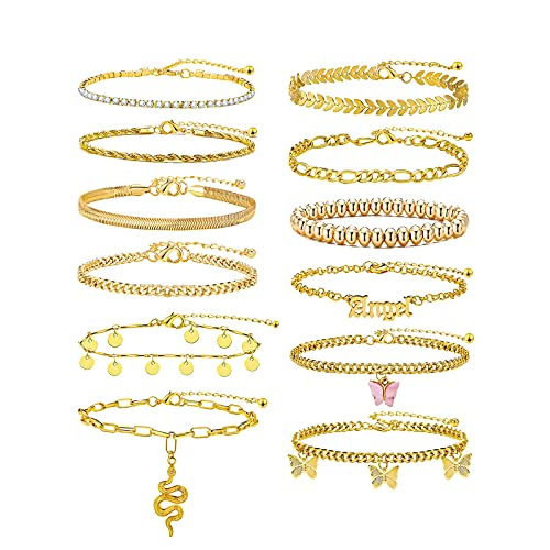 6-12 Pcs Gold Ankle Bracelets Set for Women Girls Adjustable Chain Butterfly Beach Anklet Bracelet Set for Foot Jewelry Gifts