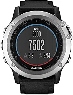 جارمن فينكس 3 سافير اتش ار ساعة ذكية بسوار سيليكون ، فضي ، DM-010-01338-77